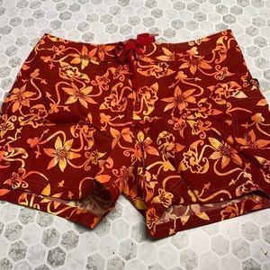 Billabong Orange and Red Floral Swim Trunks